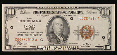 1929  $100 National Currency Note    Federal Reserve Bank of Chicago