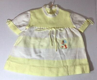 Vintage RENZO Baby Knitted Dress Yellow White Duck Made in Italy