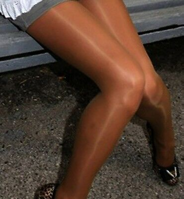 SUPER SHINY *BRONZE* Glossy SATIN Silky SHEER TO WAIST Pantyhose Tights *XL*