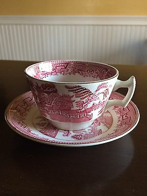 Wood & Sons Red And White Willow Pattern Cup And Saucer Set