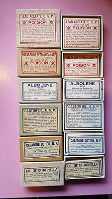6 Boxes Of Vintage Apothecary Drug Pharmacy Labels Ephemera Lot