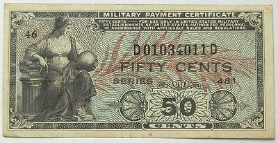 U.s. Military Payment Certificate 50 Cents Series 481 Jun 51 To May 54