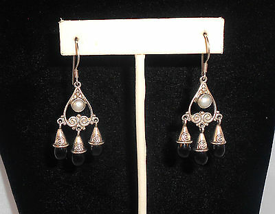 SAJEN 925 Sterling Silver Earrings with Pearl Accents & Onyx Dangles Artisan
