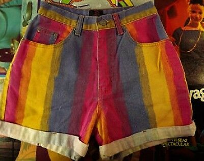 Vtg 80s 90s Denim High-Waist Mom Jeans Shorts Grunge M Sasson Rainbow Striped