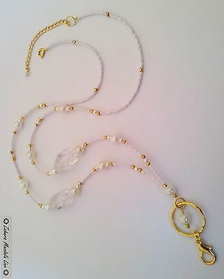 Gold White & Pearls ID Badge Holder Tag HANDMADE Beaded Lanyard Fashion Necklace