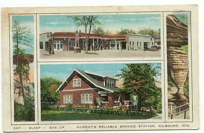 Kilbourne WI Murrays Reliable Service Station Old Postcard  - Wisconsin