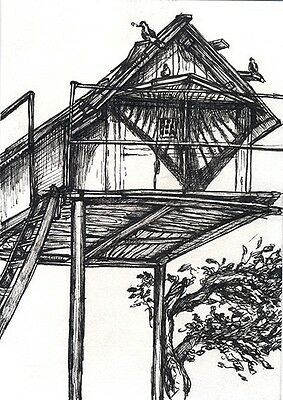 """Original drawing """"Dovecote"""", dovecot, pigeon house, ink on paper"""