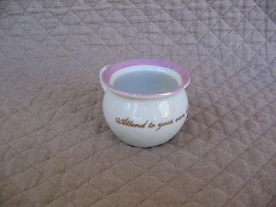 Antique Vintage Miniature Chamber Pot Watching Eye Pink Luster Germany