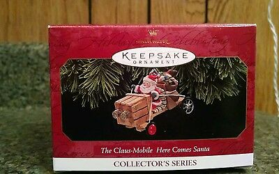 1997 hallmark claus mobile here comes santa ornament new