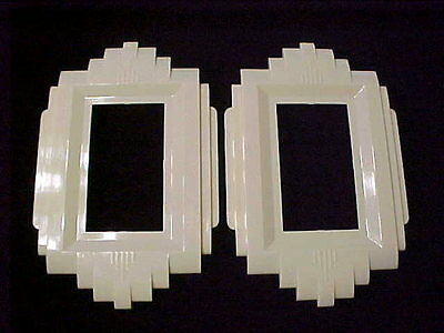 2 Vintage Art Deco GITS Mldg Ivory Color Switch Plate Surround Covers NOS
