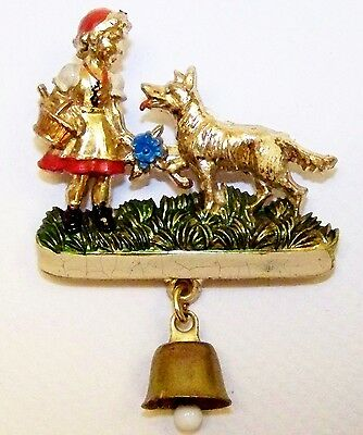 Grimm Red Riding Hood Celluloid Vintage Germany Bavaria Oktoberfest Tyrolean Pin