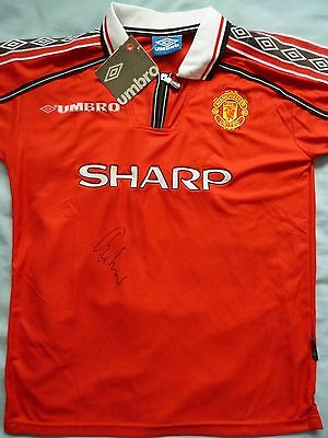 Gary Neville Signed Manchester United Shirt - Football Autograph, 1999 Treble