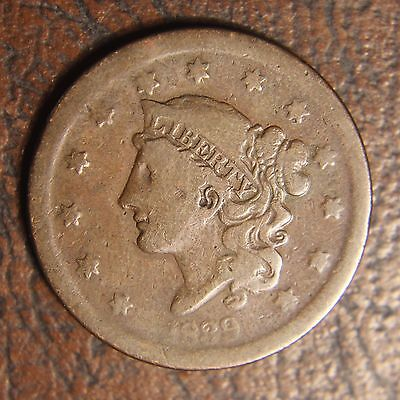 1839 Coronet Head Large Cent, N-9, Silly Head