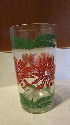 """Vintage Swanky Swig Red Flowers Green 5"""" Tall Drinking Glass Tumbler RARE"""