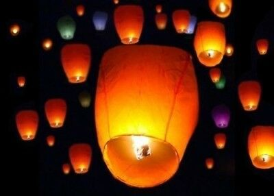 50Pcs Yellow Paper Chinese Lanterns Sky Fly Candle Lamp for Wish Party Wedding