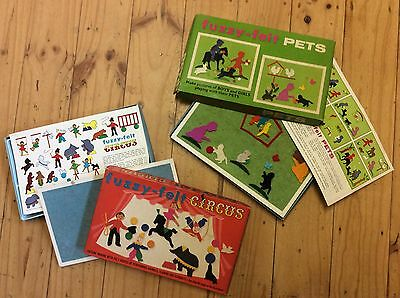 VINTAGE 60's Fuzzy Felts - Pets And Circus