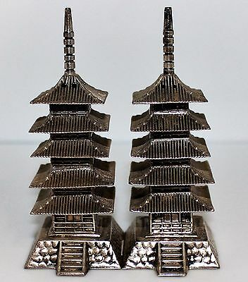 Antique 950 Silver Asian Pagoda Temple Salt & Pepper Shakers! WOW!