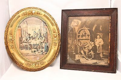 Two 19Th Century Wood Framed Prints Of People Drinking And Playing Cards/poker