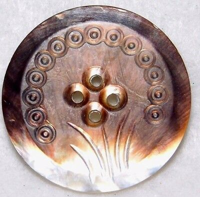 """Large ANTIQUE Vintage CARVED Pearl Shell Button IRRIDESECENT MAUVE  1 & 5/16"""""""