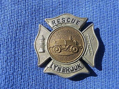 Vintage Lynbrook New York Fire Department Rescue Breast  Badge