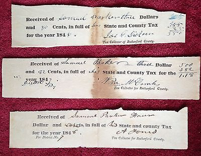 1846-48 Pmt of State & County Tax Rec. Authentic vintage Signed Documents
