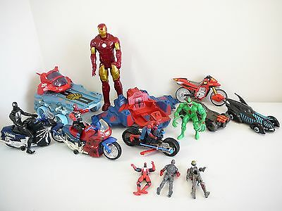 Spider Man + Venom + Motor Bikes + Iron Man Large Figure + Batman Cars Boys Toys