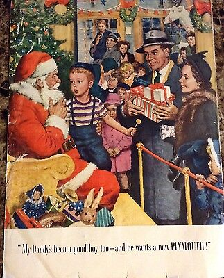 "Original 1949 Vintage Christmas Print Ad For ""plymouth""** Classic & Endearing**"
