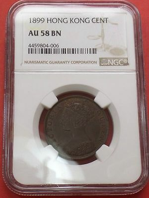 1899 HONG KONG (BRITISH) ONE CENT NGC AU-58 BN SHARP STRIKE Type Coin KM# 4.3