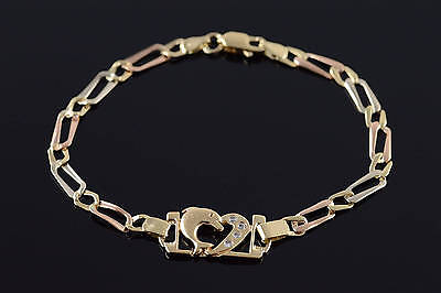 "10K Tri Color Jumping Dolphin Loose Link Bracelet 7"" Yellow Gold"