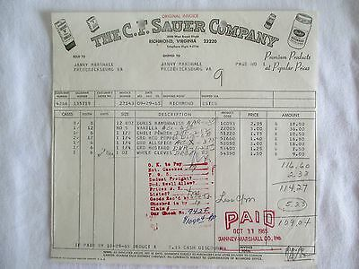 Vintage 1965 C.f.sauer Co .richmond, Va  Original Invoice Spices-Extracts Dukes
