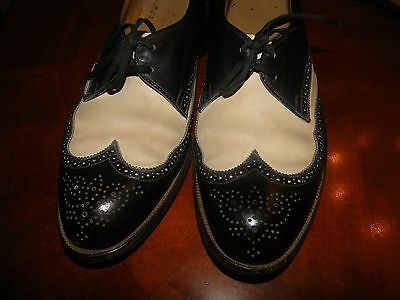 Vintage Two Toned  Dress Shoes   Black & White Leather  Oxford Wing Tip Sz. 9