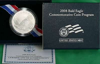 2008 Bald Eagle BU 90% Silver Dollar Commemorative US Mint $1 Coin Box and COA