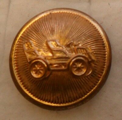 "WOW 1 1/16"" Old Model T Brass Antique Button 490:18"