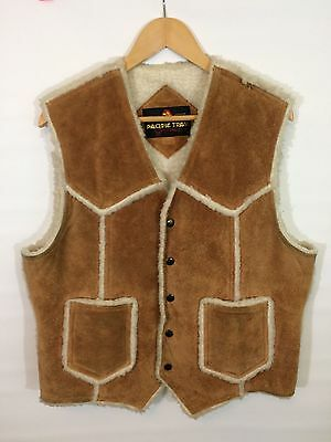 Vintage Lined Leather Vest Rockabilly Pacific Trail Sportswear Size L 44 Chest