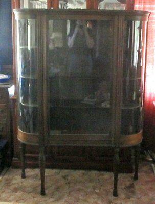 Antique 1800's CURVED GLASS Curio / China Cabinet