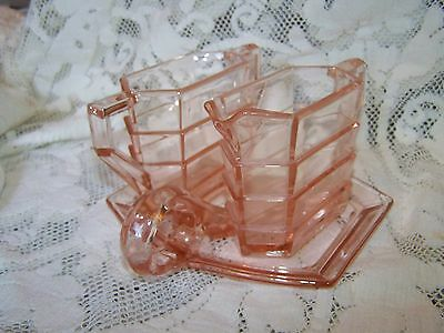 Indiana Glass Tea Room Narrow Cream & Sugar W/ Under Tray Pink Depression Glass
