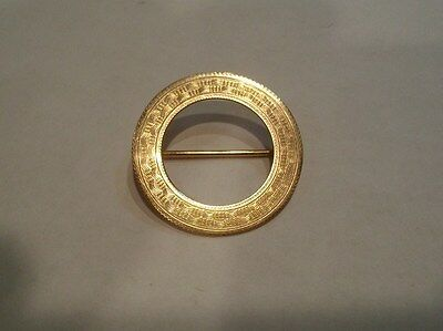 1920's E.S. FEINSTEIN & CO. 10K YELLOW GOLD ROUND LAPEL HAT FASHION BROOCH PIN