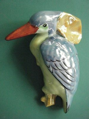 Vintage Made In Japan Lustre Ware Wall Pocket W. Bird Toucan/pelican