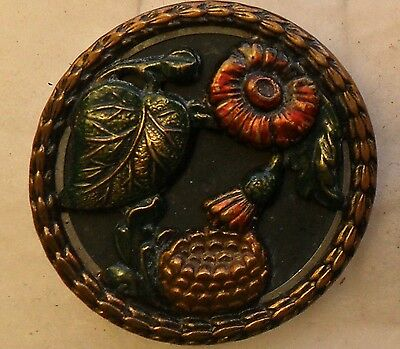 "WOW 1 3/8"" Painted Flower and Nest Metal Antique Button 490:10"