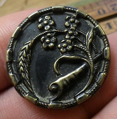 "WOW 1"" Flowers Wheat and Scroll  Metal Antique Button 437:5"