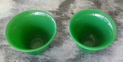 Pair Chinese Jade Green Peking Glass Wine Cups - 翡翠料酒杯
