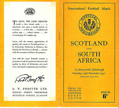 SCOTLAND v SOUTH AFRICA 1951 RUGBY PROGRAMME