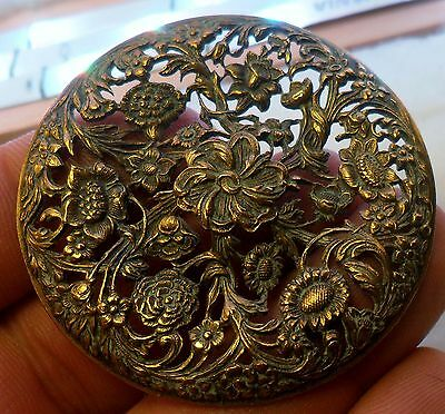 "WOW 2+"" Extra Large 2 3/8"" Open Work Flowers Brass Antique Button 490:1"
