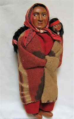"""Vintage Native American Indian 11"""" SKOOKUM Bully Good Doll w/Papoose~ NICE!"""