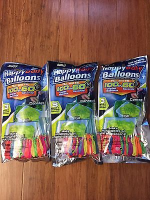 3 X Happy Baby Balloons (fast Shipping From Canada) 300+ Water Balloons In Total