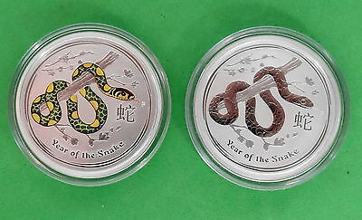 2013 Australia Year of the Snake 1/2 oz 9999 Fine Silver Regular & Colorized