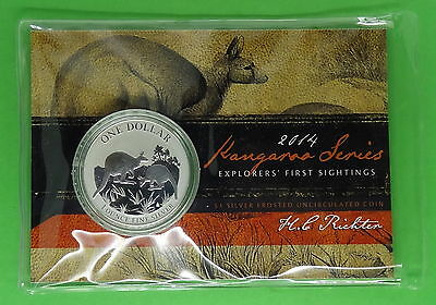 2014 Australia Kangaroo Series 1 oz 999 Fine Silver Coin in Mint issued Package