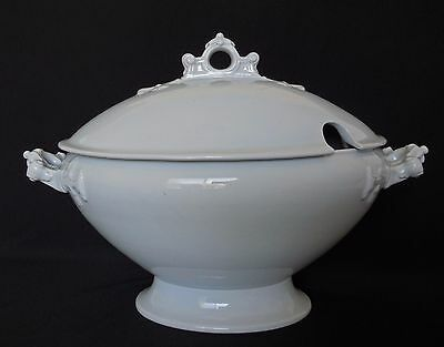 "Antique English WHITE IRONSTONE 14"" Footed Oval SOUP TUREEN & LID ca. 1852-1883"