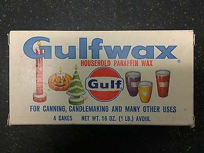 VTG GULF Gulfwax Household Paraffin~ Box contains 3 new Cakes of Paraffin Wax