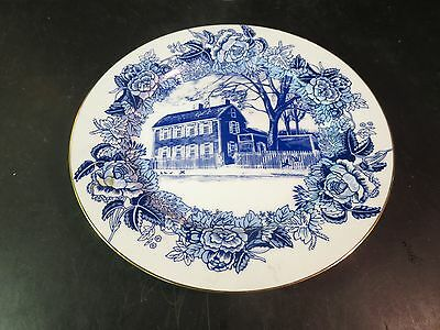 """Mary Baker Eddy Historic House 10-1/8"""" Blue & White Collector's Plate"""